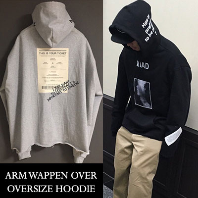 [UNISEX] ARM WAPPEN PATCH OVERSIZE HOODIE(2color)
