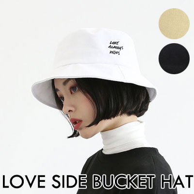 [UNISEX] LOVE SIDE LETTERING BUCKET HAT(3color)