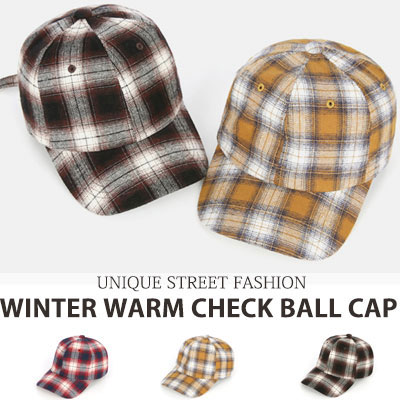 [UNISEX] WINTER WARM CHECK BALL CAP(3color)