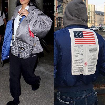 [UNISEX] Justin Bieber/Rihanna st.AMERICA FLAG PRINT REVERSIBLE MA-1(grey+blue)