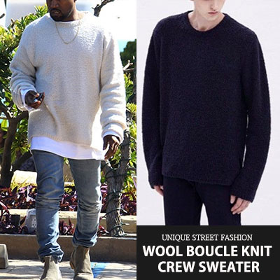 [UNISEX] wool80%/Kanye West/Dre st/ WOOL BOUCLE KNIT CREW SWEATER(3color)