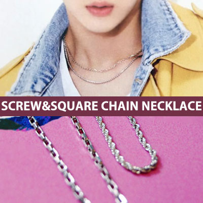 [SURGICAL STEEL][2ea set] VIXX LEO st. SCREW & SQUARE CHAIN NECKLACE