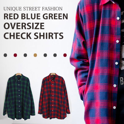 [UNISEX] RED BLUE GREEN OVERSIZE CHECK SHIRTS(2color)