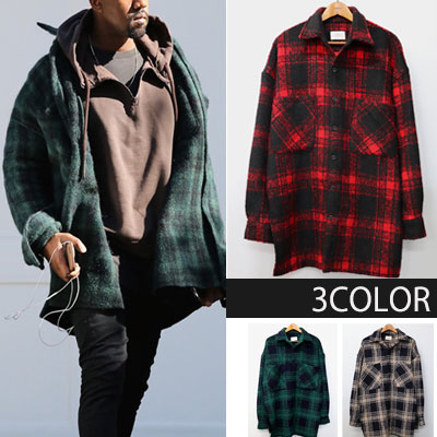 [UNISEX]  Kanye West st.OVERSIZE PLAID HAVY FLANNEL SHIRTS(3color)