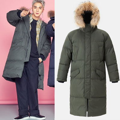 [8seconds][Real Raccoon Fur]WINNER style!LONG DUCK DOWN KHAKI JACKET/SongMiNo/KangSeungYoon/KimJinWoo/LeeSeungHoon