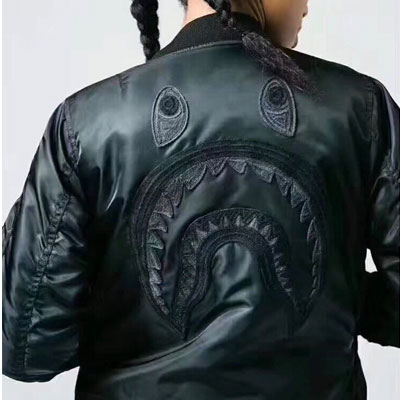 [UNISEX] SHARK FACE EMBROIDERY MA-1 BOMBER JACKET(2color)