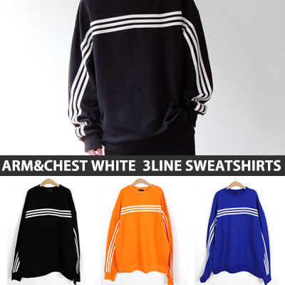 [UNISEX] ARM&CHEST WHITE 3LINE SWEATSHIRTS(3color)