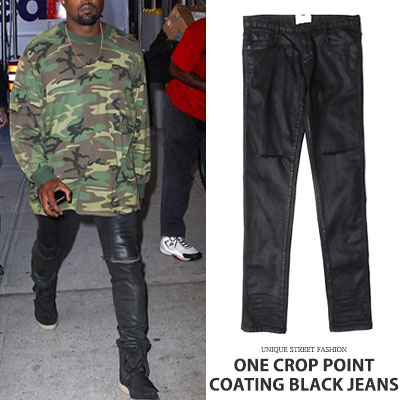 [High quality] KANYE WEST/KIMWOOBIN/GD STYLE!ONE CROP POINT COATING BLACK JEANS