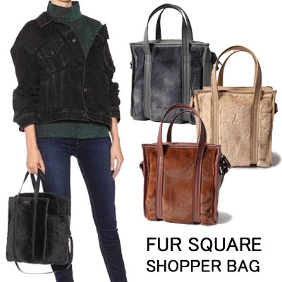 FUR SQUARE SHOPPER BAG(4color)