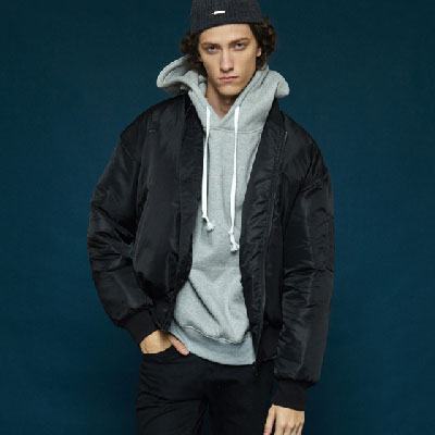 【2XADRENALINE】Embroidered MA - 1 Jacket - Black
