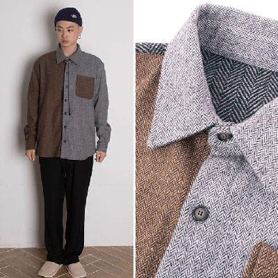 【2XADRENALINE】Herringbone Mix Shirt