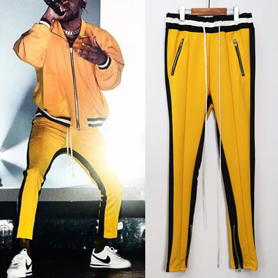 [UNISEX] BLACK LINE POINT SIDE ZIPUP YELLOW PANTS