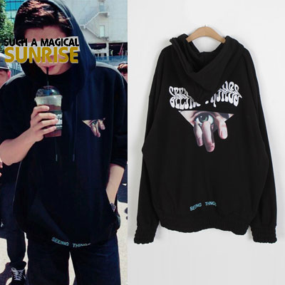 [UNISEX] EXO ChanYeol st. EYES PRINT BANDING OVERSIZE PULLOVER HOODIE