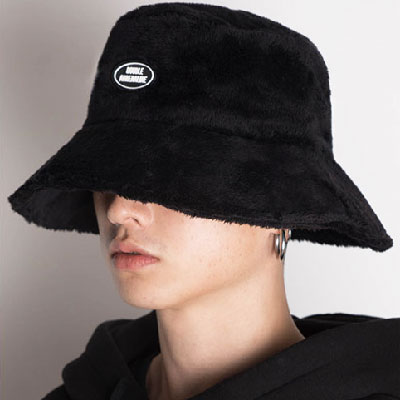 【2XADRENALINE】Oversized Fur Bucket Hat - BLACK