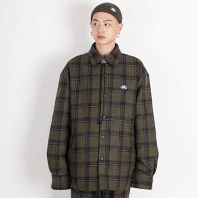 【2XADRENALINE】Padded Check Shirt - KHAKI