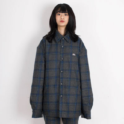 【2XADRENALINE】Padded Check Shirt - GRAY