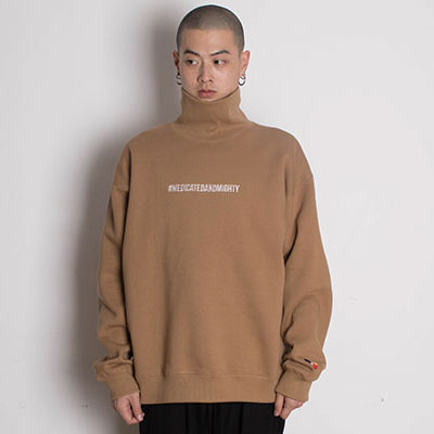 【2XADRENALINE】Brushed Back Hash Tag Turtleneck - BEIGE