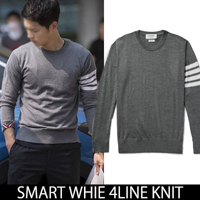★M~2XL★[Korean drama DESCENDANTS OF THE SUN]Song Joong-ki fashion style!WHIE 4LINE SWEATSHIRTS