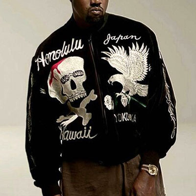 KANYE WEST STYLE! HIGH QUALITY! SKULL&EAGLE EMBROIDERED BOMBER JACKET