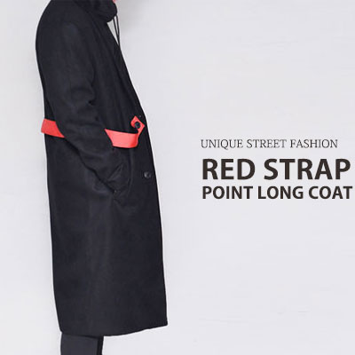[UNISEX] RED STRAP POINT LONG COAT