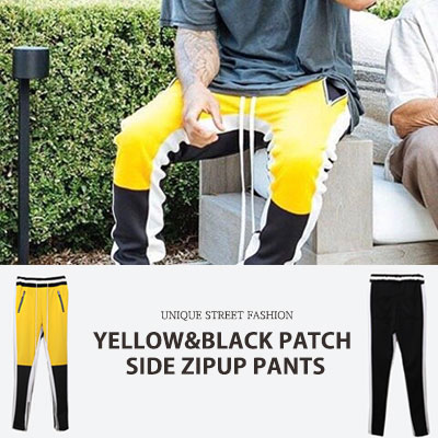 [UNISEX] YELLOW BLACK PATCH SIDE ZIPUP PANTS