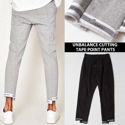 [UNISEX] UNBALANCE CUTTING TAPE POINT PANTS(2color)