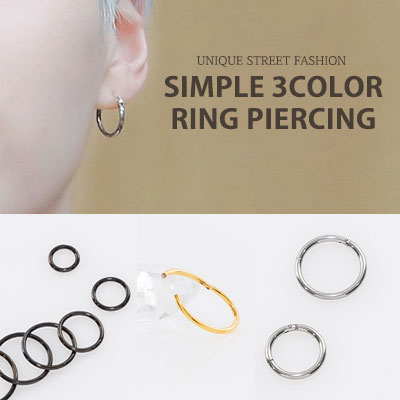 [UNISEX] (1ea)BTS st.SIMPLE 3COLOR TYPE RING PIERCING(3color/5type)