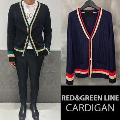 [UNISEX]  [ウール35%] RED GREEN LINE CARDIGAN(2color)