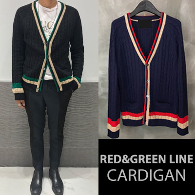 [UNISEX]  [ウール35%] RED GREEN LINE CARDIGAN(2color)