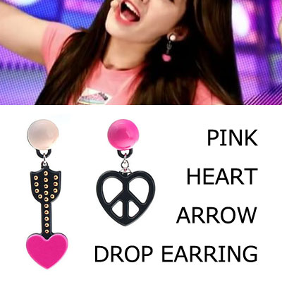 [original]IOI Jeon Somi st. PINK HEART ARROW DROP EARRING