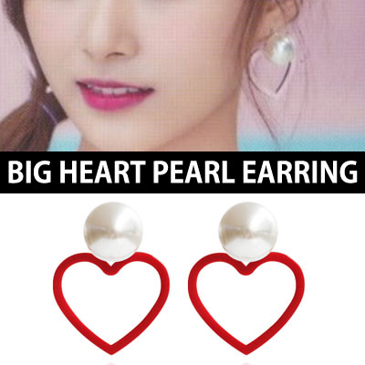 TWICE TZUYU DAHYUN st. BIG HEART PEARL EARRING(3color)