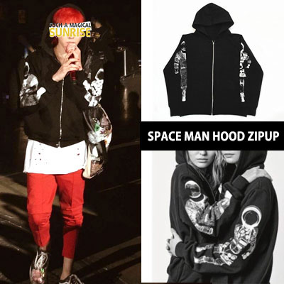 BIGBANG/GD/G-DRAGON st. SPACE MAN ARM PRINT ZIPUP HOOD PARKA