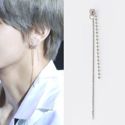 [UNISEX] [1ea]BTS/防弾少年団/V/TAETAE/TAEHYUN/DROP BALL&LONG CHAIN LAYERD EARRING(2type)