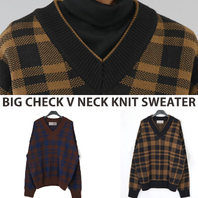 [UNISEX] BIG CHECK V NECK OVER FIT SIZE KNIT SWEATER (2color)