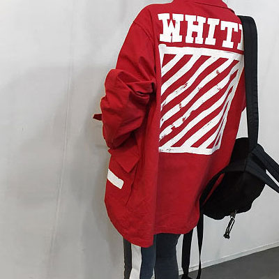 [UNISEX] RED DIAGONAL SIDE STRAP WORK JACKET(2size)