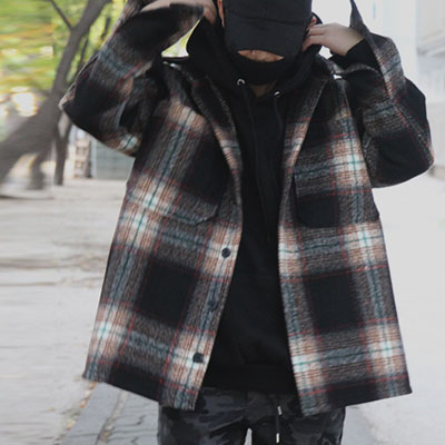 [UNISEX] WARM BROWN CHECK COAT SHIRTS