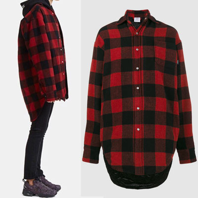 G-DRAGON,SANDARA st.NEW VER./BOLD CHECK FLANNEL QUILTED UNBALANCE RED SHIRTS/outer