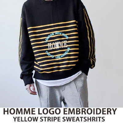 [UNISEX] HOMME LOGO EMBROIDERY YELLOW STRIP SWEATSHIRTS