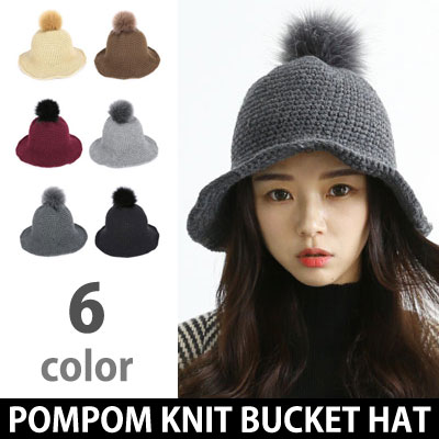 POMPOM KNIT BUCKET HAT(6color)