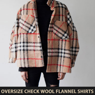 [UNISEX] OVERSIZE CHECK WOOL FLANNEL SHIRTS(3color)