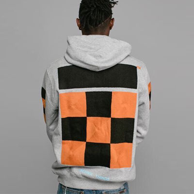 [UNISEX] CHECKER EMBROIDERY PULLOVER HOODIE