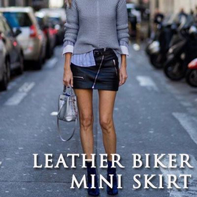 【FEMININE : BLACK LABEL】LEATHER BIKER MINI SKIRT