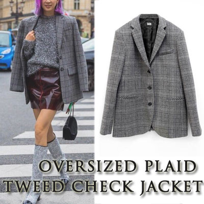 【FEMININE : BLACK LABEL】OVERSIZED PLAID TWEED CHECK JACKET