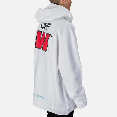 [UNISEX] RED W BACK LOGO WHITE PULLOVER HOODIE