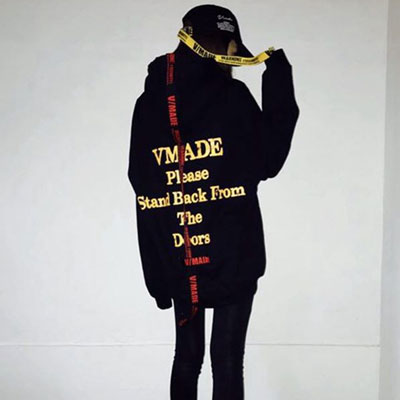 [sale][UNISEX] LETTERING TAPE POINT PULLOVER HOODIE
