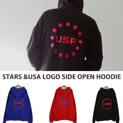 [UNISEX] STARS & USA LOGO BACK POINT PULLOVER HOODIE(3color)