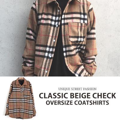 [UNISEX] CLASSIC BEIGE CHECK OVERSIZE COAT SHIRTS