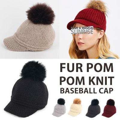 [UNISEX] Fur Pom Pom Knitted Baseball Cap