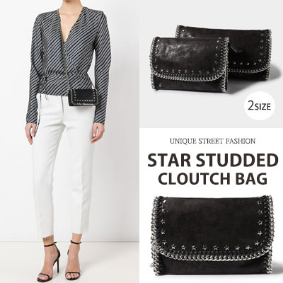 STAR STUDDED CLUTCH/SHOULDER BAG(2size)