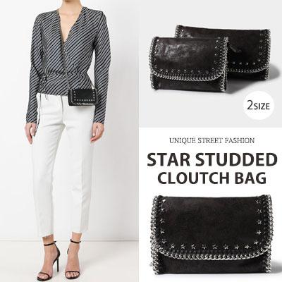 STAR STUDDED CLUTCH/SHOULDER BAG(2size)